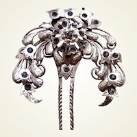 Vintage Java hair comb antiqued silver tone metal lotus hair accessory