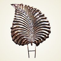 Vintage Java hair comb antiqued silvery gold tone leaf hair accessory