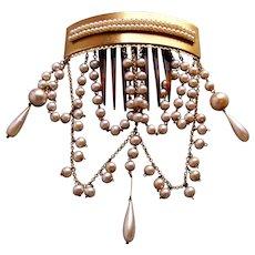 Victorian Moorish style hair comb with lavish faux pearl dangles