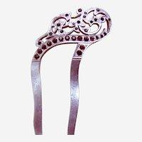 Edwardian aluminium hair comb curved design hair accessory