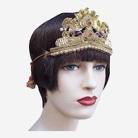 Art Deco oriental style headpiece metallic embroidery bandeau headpiece