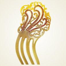 Art Deco hair comb asymmetric amber rhinestone hair ornament