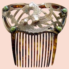 Arts and Crafts hair comb dragon design with opals hair ornament