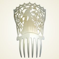 Figural bride Spanish mantilla hair comb French ivory hair accessory