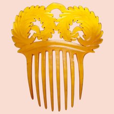 Victorian steer horn hair comb fern fronds design hair ornament