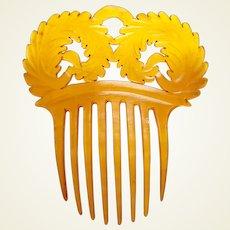Victorian steer horn hair comb fern fronds design hair ornament