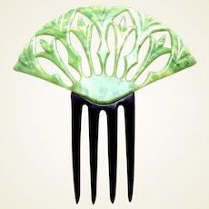 Green celluloid Art Deco hair comb Egyptian revival hair accessory