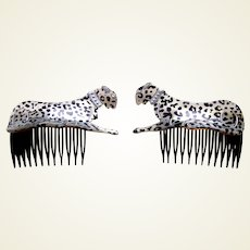 Matched pair 1980s hair combs with figural leopards