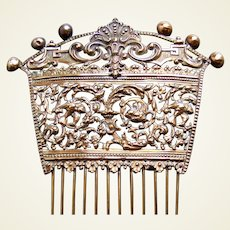 Early Victorian Spanish style hair comb pierced brass hair accessory