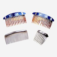 Four Mexican style hair combs in silver tone metal and abalone