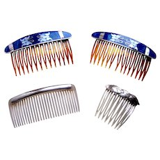 Four Mexican style hair combs in silver and abalone