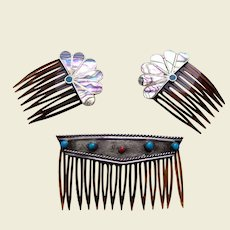 Three Mexican hair combs with abalone, turquoise and coral
