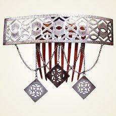 Victorian Moorish style metal hair comb with dangles headpiece