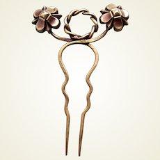 Art Nouveau hair comb metal with floral theme hair accessory