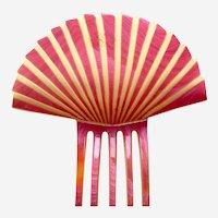 Art Deco hair comb pink celluloid fan shape hair accessory