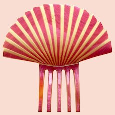 Art Deco hair comb pink celluloid fan shape hair accessory