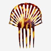 Classic Art Deco hair comb sunray design faux tortoiseshell hair accessory