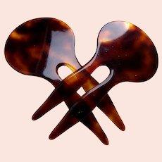 Matched pair Alexandre de Paris hair combs signed hair accessories