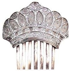 Victorian silver tone filigree hair comb hair accessory