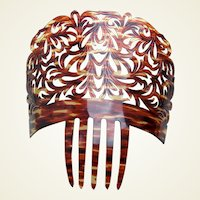 Spanish mantilla style hair comb celluloid faux tortoiseshell hair accessory
