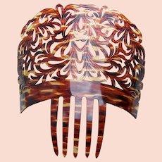 Spanish mantilla style hair comb celluloid faux tortoiseshell hair accessory