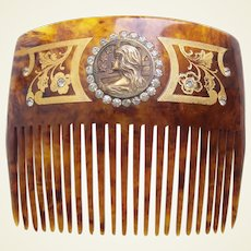 Art Nouveau hair comb with figural lady hair accessory
