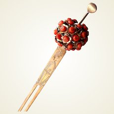 Japanese kanzashi hair pin with coral flowers hair ornament