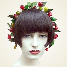 Artificial fruit wedding wreath headdress or headpiece