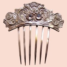 Early Victorian silver hair comb with faceted crystal hair accessory
