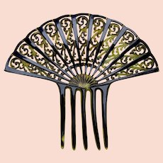 Sunray style Art Deco hair comb celluloid fan shaped hair accessory