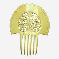 Art Deco yellow/cream celluloid large hair comb hair accessory