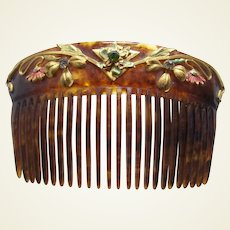 Art Nouveau hair comb enamel decoration hair accessory