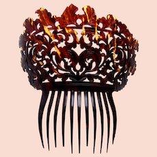 Early Victorian hair comb tortoiseshell hair ornament