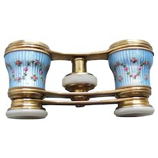 Opera glasses in brass with enamel floral decoration