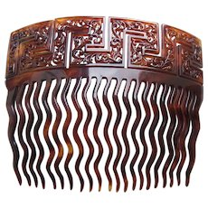 Victorian hair comb with Greek key design hair accessory
