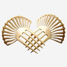Matched pair of French ivory hair combs sunray design hair accessories