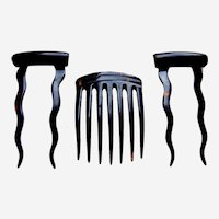 Three faux tortoiseshell hair combs late Victorian hair accessories