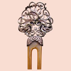 Sterling silver hair comb from the late Victorian period hair accessory