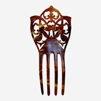 Spanish style Victorian hair comb celluloid faux tortoiseshell hair accessory