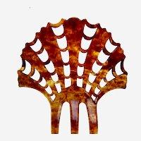 Sunray style Art Deco hair comb celluloid faux tortoiseshell hair accessory