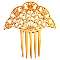 French ivory Egyptian Revival hair comb Art Deco hair ornament