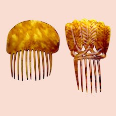 Two steer horn Spanish style Victorian hair combs AS FOUND