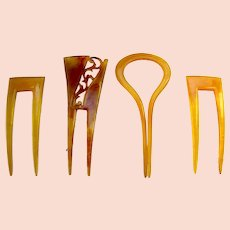 Four two pronged hair combs blonde celluloid hair accessories