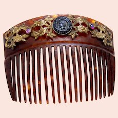 Late Victorian hair comb with cameo embellishment hair ornament
