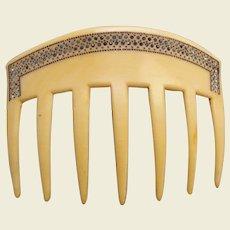 Cream celluloid Art Deco hair comb rhinestone border hair accessory