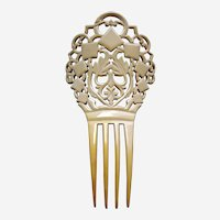 Cream celluloid Art Deco hair comb Spanish style hair accessory