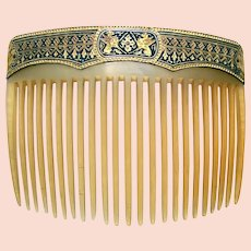Unusual late Victorian hair comb with damascene embellishment