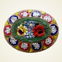 Late Victorian micro-mosaic brooch Murano style floral design