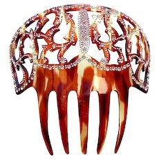 Spanish mantilla style hair comb rhinestone hair accessory