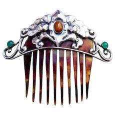 Silver Skonvirke hair comb with semi precious stones hair ornament